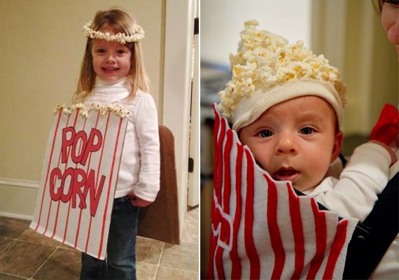 Popcornnak öltöztetni a gyerkőcöt nemcsak vicces, de rém egyszerű is. Kisgyerekeknek és kisbabáknak is mutatunk egy-egy verziót. Két kis pattogatottkukorica-testvér nagyon jól mutathat egymás mellett.