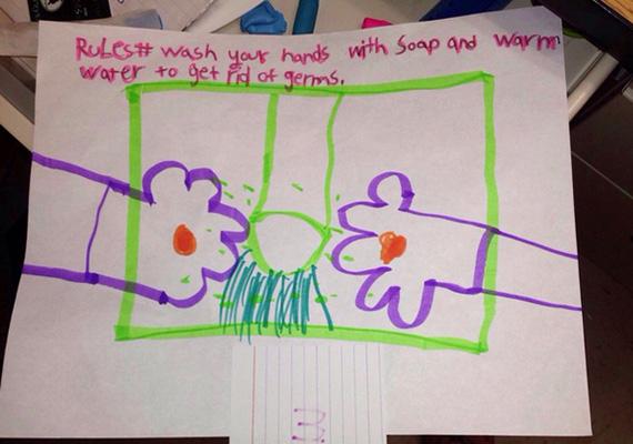 A helyes, meleg vízzel és szappannal történő kézmosást mutatja be a rajz.