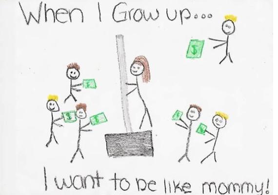 Ezen a képen egy hólapátot árusító anyuka látható, akire, ha felnő, szeretne hasonlítani a kép rajzolója.