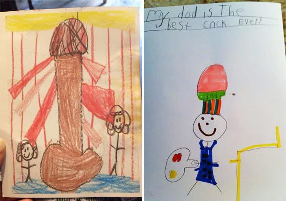 A bal oldali képen egy világítótorony, a jobb oldalin a gyerkőc apukája látható szakácssapkában, aki a legügyesebb a rajz készítője szerint. Bónusz a cook szó helyett a cock szó használata.