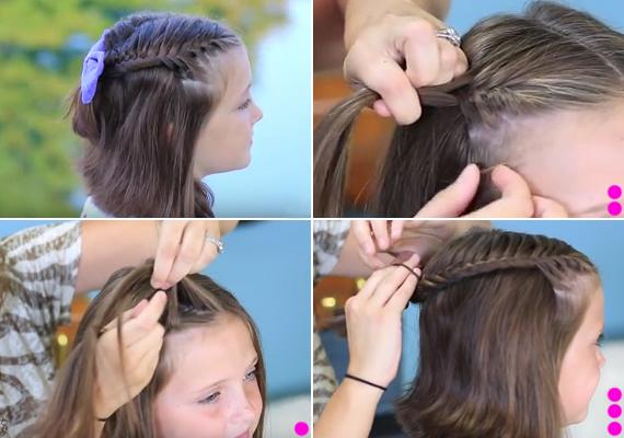 Fonott frizura rövidebb hajhoz                                                  Az alaposan kifésült hajat válaszd ketté, majd a homloktól indulva kezdj francia halfarokfonást. Ezt a galéria negyedik képén magyarázzuk el.                                                  Fonás közben a fonat két oldalán lévő hajból mindig vegyél kicsit fel, és tartsd a kívánt ívet.                                                  Ha a fej hátuljához értél, rögzítsd a fonatot, és ismételd meg ezt a másik oldalon is. Végül a két fonatot fogd egybe egy szép csattal.                                                  Nézd meg a lépésről lépésre videót ide kattintva »