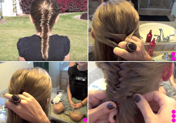 Francia halfarokfonás                                                  A kibontott haj felső részét leválasztva indulj lefelé. Vedd ketté a hajrészt, így két nagy tincset kapsz.                                                  A jobb tincshez a többi haj bal oldaláról, a bal tincshez a többi haj jobb oldaláról vegyél mindig egy kicsit, felváltva.                                                  Ha a tarkóhoz érsz, folytasd ezt úgy, hogy a két tincs legkülső oldaláról veszel át tincseket, felváltva jobb és bal oldalra. Végül rögzítsd hajgumival.                                                  Nézd meg a lépésről lépésre videót ide kattintva »