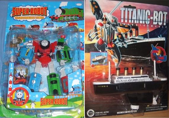 A Thomas, a gőzmozdony című mese szereplői és a Titanic Transformersre hajazó verziója.
