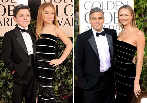 A lelkiismeretes fotós még arra is ügyelt, hogy a kis George alacsonyabb legyen partnerénél - akárcsak az igazi Clooney.
