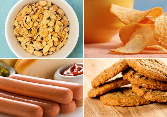 Túl sok sót tartalmazó ételek                         Nem minden magas sótartalmú ételről gondolnánk elsőre, hogy sok benne a só. A sós mogyoró és a chips mellett pedig a felvágottak és a virsli, valamint az édes kekszek is sok sót tartalmaznak. A túl sok só fogyasztása árt a vesének, emeli a koleszterinszintet, és idővel előidézője lehet a magas vérnyomásnak is.