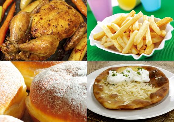 Zsíros, olajos ételek                         Mindig ügyelni kell rá, hogy a sült hús ne készüljön túl zsírosra. A túl zsíros hús emeli a koleszterinszintet, és bármilyen finom is, a sült csirke bőre szintén dúskál benne. Mindemellett az olajban kisütött ételek, mint a fánk, a sült krumpli vagy a lángos, szintén emelik a koleszterinszintet, és hizlalnak is. Sem a túlsúly, sem a szív- és érrendszeri bajok nem kecsegtető jövőképek.