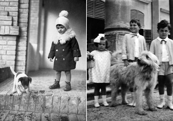 Míg a bal oldali fotón szereplő kisgyerek méretének megfelelő kutyussal barátkozik, addig a jobb oldali - nagyvázsonyi Zichy-kastélyban készült - képen szereplő gyerekek egy jóval nagyobb négylábú barátot találtak. A fotók 1929-ben, illetve 1930-ban készültek.