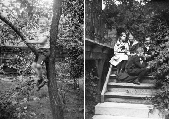 Nagy kihívás kicsi embereknek: a bajban is gyereknek maradni. Balra egy fára mászó kis csibész, jobbra beszélgető barátok a lépcsőn. A képek 1915-ből valók.