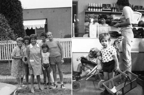 A régi vegyesboltban sorban állva, mint a jobb oldali képen is, a gyerekek nagy szemekkel nézték, kerül-e csemege is a kosárba. Izgalmas kaland volt a bevásárlás anyával, ahogy a nyaralás is a családdal: balra egy ilyen fotó.                         (1983; 1981)