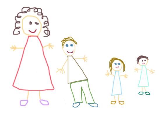 A képeken egy négytagú család ábrázolását mutatjuk, melyben a rajzoló a harmadik figura. Ezen a rajzon jól megfigyelhető, ki a gyerek számára a családban a legfontosabb, és ki a legkevésbé. Ezt a figurák mérete árulja el. Itt az derül ki, hogy az anya a gyerek számára a legjelentősebb, a többiek pedig kevésbé jelentősek.
