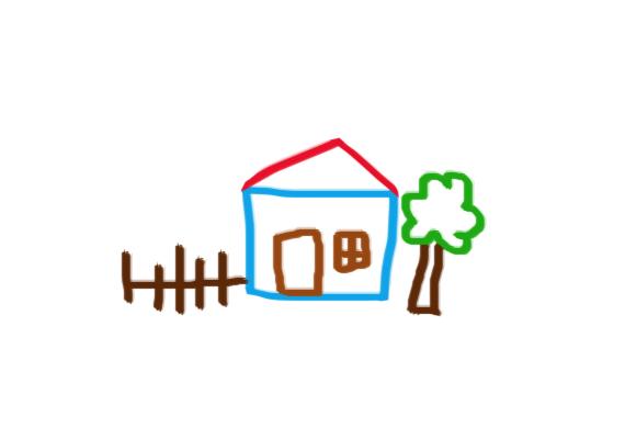 Az elemzés alapjául ezt a rajzot vesszük. A rajz egy tipikus gyerekrajz, ház, fa, léckerítés - bár ebből a rajzból is sok minden következhet, most ezt ne vedd figyelembe, csupán mankó a napábrázolás módjainak bemutatásához.
