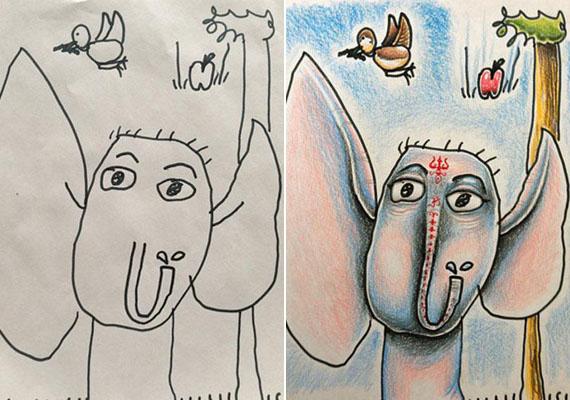 Egy vidám, rózsaszín fülű elefánt.