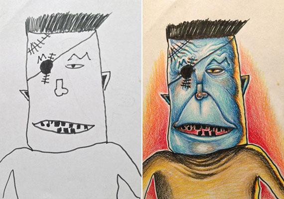 Félszemű, kékarcú Frankenstein-figura.