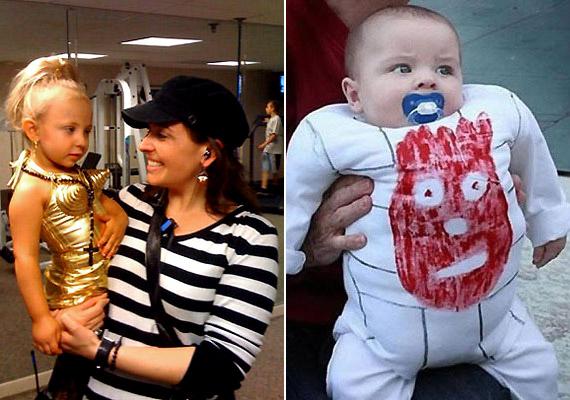Balra: nem tudjuk, hogy jutott édesanyuka eszébe professzionálisnak öltöztetni a kislányát, de szemmel láthatóan elégedett a végeredménnyel. Jobbra: egy roppant kreatív és egyedi rugdalózó, Victoria Beckham bizonyára elsárgul az irigységtől, ha meglátja.
