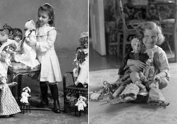 A legkedvesebb babák társaságában két kislány - 1905, 1925.