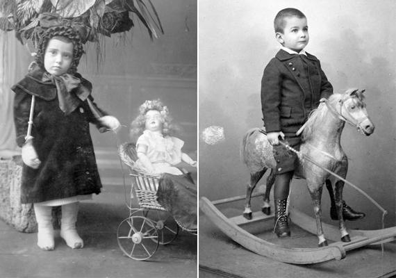 Balra egy feltehetően beteg kislány, ismét egy babakocsival, jobbra hintalovas kisfiú - 1904, 1915.