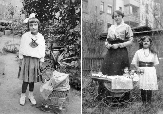 A kislányok már akkor is szerettek játék babakocsival játszani - 1916, 1921.