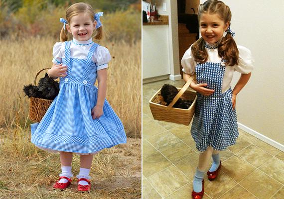 Dorothy-jelmez                         Emlékszel Dorothyra az Óz, a csodák csodája című meséből? Kislányod most beöltözhet Dorothynak, hála a people.com és a makeit-loveit.com oldalainak az ötletadó képekért.                         Kellékek: egy fehér blúz vagy póló, egy apró kockás vagy sima kék ruha, fehér bokazokni, kiskosár, plüsskutya, és ami nem maradhat el: piros cipő.                         Miután felvette a ruhákat, fond vagy kösd két copfba kislányod haját, hogy még jobban hasonlítson Dorothyra!