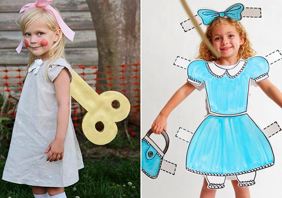 Babajelmez                         Kislányoknak nagyon cuki lehet a babajelmez. A felhúzós baba ötletét az acidez.net, az öltöztetőst a theidearoom.com oldalán találtuk.                         Kellékek: a felhúzós babához egy szép kis ruha, fehér harisnya és cipő, szalag a hajba és némi keménypapír. Az öltöztetőshöz egy fehér rövidnadrág és felső kombináció, nagyíves papír és filc.                         Vágj kulcsformát vagy felhajtogatható ruhaformákat, majd erősítsd őket néhány öltéssel a ruhára, amiket a gyerek majd felvesz.