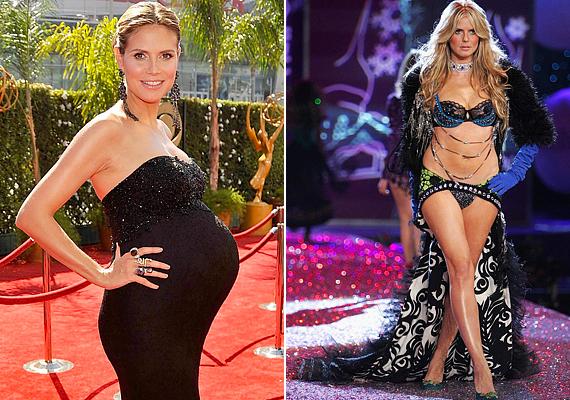 Alig hat héttel negyedik gyermekének születése után a népszerű szupermodell, Heidi Klum, máris a kifutón tündökölt. Bár eredetileg csak házigazdaként szeretett volna részt venni a Victoria's Secret szokásos show-ján, végül a lenge öltözetű bevonulást is bevállalta. Saját bevallása szerint akkor még kilenc kiló súlyfelesleg volt rajta, és úgy érezte, ő a legvastagabb a modellek között, ám büszkén vállalta nőies formáit. A közönség szerint egyáltalán nem látszott rajta az a plusz, ami miatt aggódott, sőt, bomba formában volt.