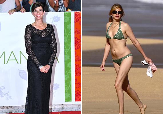Julia Roberts háromszoros édesanyaként is örök témája a lesifotósoknak. Nem tud úgy elmenni a strandra, hogy ne kövessék, és ne azt lessék, hogy épp felszedett-e vagy leadott-e pár kilót. Bár 44 évesen abszolút nincs mit szégyellnie a színésznőnek, ikrei születése után két évvel bizony ő is megkapta a kritikát, hogy nem elég feszes a hasa. Látszik, hogy ismertsége ellenére nem önmagával van elfoglalva a nap minden percében, viszont azzal sem vádolható, hogy nincs jó formában. Igazán karcsú és csinos, és árad belőle a természetesség.