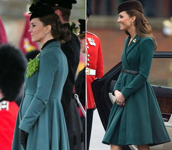 Márciusban, a Saint Patrick-napi ünnepségen. A hercegné köztudottan nem szégyell egy-egy darabot több nyilvános eseményre is felvenni - a tavalyi hasonló rendezvényen is ebben a kabátban jelent meg, igaz, akkor még övet is viselt hozzá.