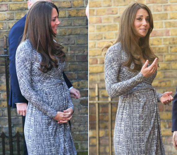 Itt még jobban látszik gömbölyödő babapocakra. Az elegáns Max Mara ruha öve kihangsúlyozza a hercegné egyre nőiesebb idomait.