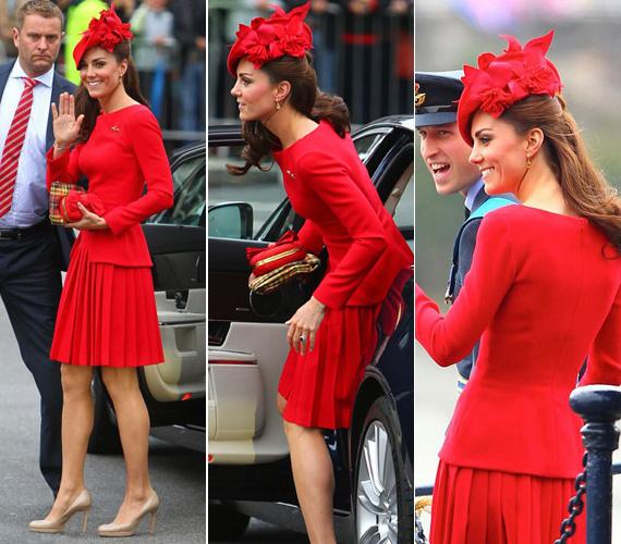 Irigylésre méltóan karcsú alakját szívesen hangsúlyozza nőies vonalú ruhákkal, kosztümökkel. A képen tűzpiros Alexander McQueen ruhában, a királynő uralkodása 60. évfordulójának ünnepén.