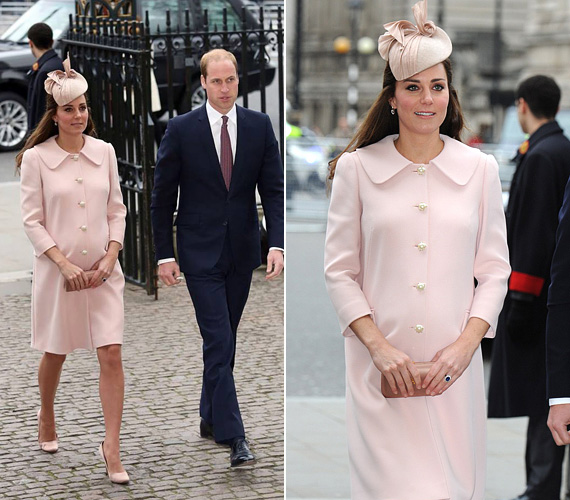 Hát nem álomszép ez a finomrózsaszín kabát? Március 9-én Katalin ebben az Alexander McQueen darabban vett részt egy, a Westminster-apátságban tartott ünnepségen.