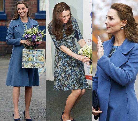 Ez a kékes árnyalatokban pompázó Seraphine ruha egy pocelángyári látogatás alkalmával volt rajta ez év februárban. Ugye, milyen jól állt neki?