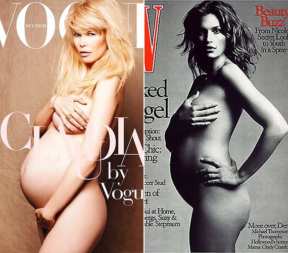 Claudia Schiffer és Cindy Crawford is megvált a ruháitól várandósan. Claudia 2010-ben, a német Vogue címlapján szerepelt nagy hassal, gyakorlatilag a baba születése előtt nem sokkal örökítette meg természetes szépségét Karl Lagerfeld. Cindy 1999-ben, a W magazinban mutatta meg a továbbra is feszes, de pocakkal kibővült alakját.