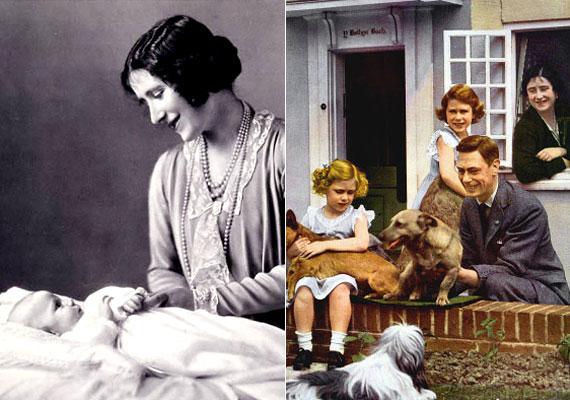 Az anyakirálynő második gyermeke, Margit Róza hercegnő 1930. augusztus 31-én született a skóciai Glamis-kastélyban, anyja ősi otthonában. A királyi család más tagjaihoz viszonyítva Margittól nem várták el, hogy nyilvánosan szerepeljen, ezért szülei kevés gondot fordítottak nevelésére és apja azt is megengedte neki, amit nővérének nem, például, hogy 13 évesen késő estig fennmaradjon. VI. György később azt mondta lányairól, hogy Erzsébet a büszkesége és Margit az öröme. Margit 2002-ben hunyt el, édesanyja egy hónappal később, 101 éves korában zárta le örökre szemét. A képen Margit hercegnő születésekor és családi körben látható.