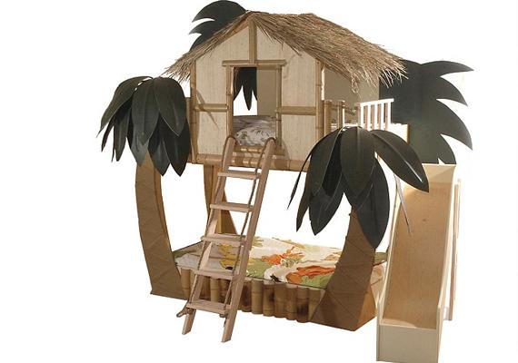 Kis dzsungelharcosoknak a sztárapukák vásárolhatnak ilyen dzsungelházikóágyat is - 9995 dollárért, vagyis nagyjából 2 millió forintért.