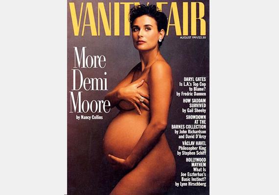 Demi Moore tehát úttörő volt a pucéran pózoló sztárkismamák közt. Figyeld meg, milyen pózban áll! Többen is utánozták, akikről hasonló címlapfotó készült.
