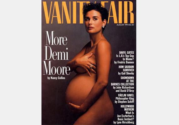 Demi Moore ugyancsak a Vanity Fair címlapján - testtartását sok sztármami másolja tudatosan hasonló képeken.