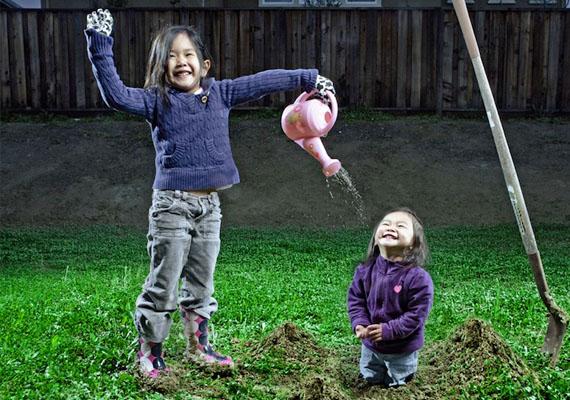 Szabadtéri fotók is készültek a lányokról.