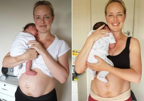 Egy héttel és két héttel a szülés után.                         Két év múlva, amikor várandós voltam a második gyerekkel, eldöntöttem, fotókat készítek, és dokumentálom a csodás, egyben döbbenetes változásokat, melyeket a szülés utáni első napokban tapasztalnak meg az anyák.