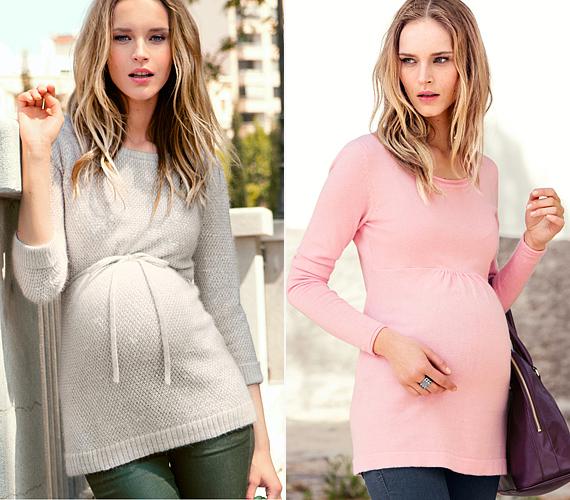 A H&M kismamarészlege elfogadható áron tartogat számodra jól kombinálható, mell alatt szabott és megkötős pulóvereket, melyeket romantikus, nőies és sportos stílusverziókban is viselhetsz. A szürke darabjuk 6990 forintba, a rózsaszín kreációjuk 5990 forintba kerül.
