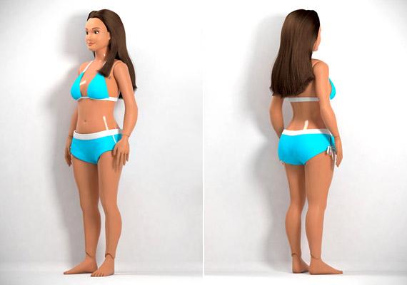 Fürdőruhája valójában sokkal visszafogottabb ahhoz képest, amit Barbie szokott viselni.