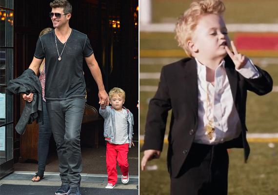 Robin Thicke fia, a kis szöszi Julian már nemcsak lesifotókon, hanem apukája egyik videoklipjében is szerepelt nemrégiben. Jaj a lányoknak, ha csak feleannyira is nőcsábász lesz, mint az énekes.