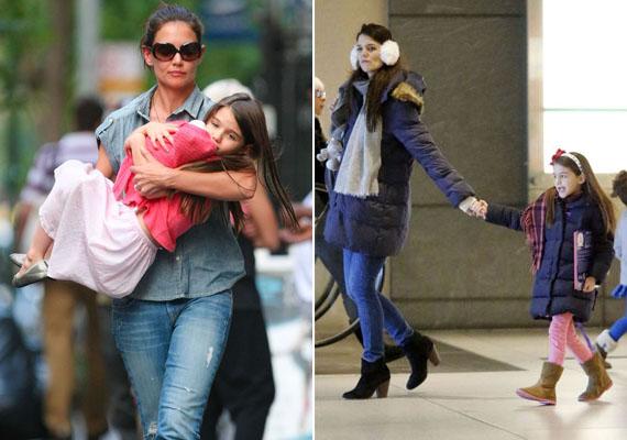 Katie Holmes kislánya is hihetetlenül hasonlít az anyukájára. A jobb oldali képen olyan, mintha a színésznő nem is Surit, hanem saját maga kicsinyített mását vezetné maga mellett.