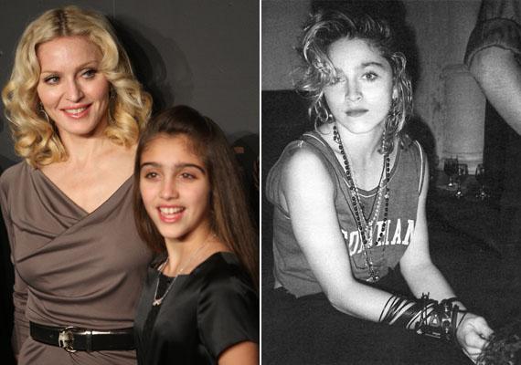 Madonna lánya, Lourdes is az anyukájára ütött. A jobb oldalon az énekesnőről láthatsz egy képet a nyolcvanas évekből. Ugye, mennyire hasonlítanak?