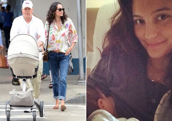 Bruce Willis párja, Emma Heming-Willis kislányuk, Evelyn etetése közben készített magáról egy képet, amit később a Facebookon posztolt.