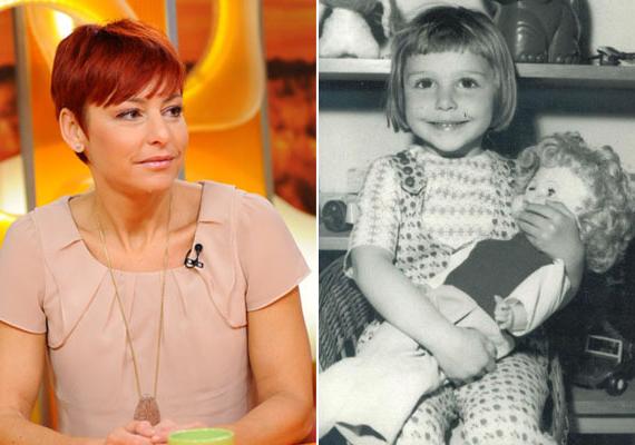 Erős Antónia, az RTLklub híradósa óriási babával az ölében pózolt a fotós előtt: ugye, milyen tündéri kislány volt? Ma már egy ikerpár, Szonja és Matyi anyukája.