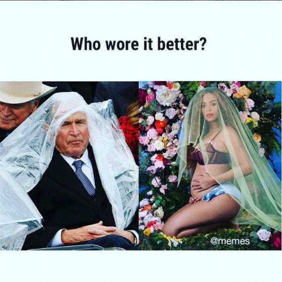 Kinek áll jobban?Ifjabb George Bush védekezett az eső ellen így Trump beiktatásán.