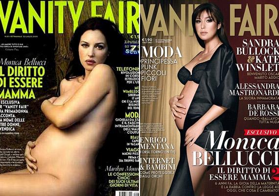 Monica Bellucci 2004-ben és 2010-ben is terhesen pózolt a Vanity Fair címlapján. Első alkalommal a spermadonorságot betiltó olasz törvény ellen tiltakozott ily módon, másodszor talán csak megszokásból.