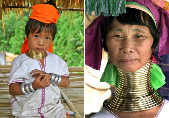 A zsiráfnyakú nők elsősorban a Thaiföld és Mainmar - Burma - területén élő karen népcsoporthoz tartozó padaung törzsből származnak. A nyakukat gyermekkoruktól kezdve nyújtják fémkarikákkal, dacára a szokás nyilvánvaló egészségkárosító hatásának.