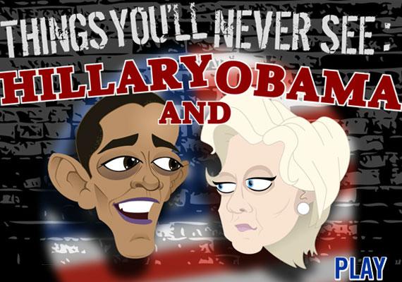 Amikor Barack Obama és Hillary Clinton gátlástalanul egymásnak esnek.