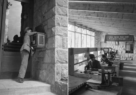 A csillebérci nagytábor egyfajta úttörő-köztársaságként működött, ahol a gyerekek játékos módon ismerkedhettek meg a demokráciával, kipróbálhatták magukat például postai alkalmazottként. A bal oldali kisfiú épphogy felérte a postaládát. A képek 1951-ben készültek.