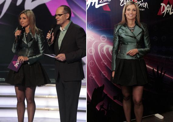 A Dal című műsor első adásában merészen dekoltált ruhába bújt Novodomszky Éva ezúttal egy rövid tüllszoknyát választott, amelyben csinos lábait is megmutatta a közönségnek.
